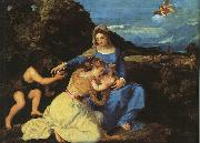 Titian Madonna and Child with the Young St.John the Baptist St.Catherine oil painting picture wholesale