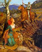 Arthur Hughes Gareth Helps Lyonors and Overthrows the Red Knight oil painting artist