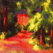 August Macke Red House in a Park oil painting picture wholesale
