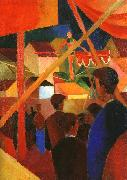 August Macke Girls Bathing with Town in the Background oil painting picture wholesale