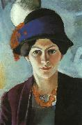 August Macke Portrait of the Artist's Wife Elisabeth with a Hat oil painting picture wholesale