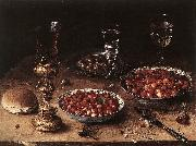 BEERT, Osias Still-Life with Cherries and Strawberries in China Bowls oil painting artist
