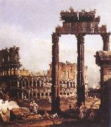 BELLOTTO, Bernardo Capriccio with the Colosseum oil painting artist