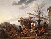BERCHEM, Nicolaes A Southern Harbour Scene oil painting picture wholesale