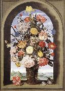 BOSSCHAERT, Ambrosius the Elder Bouquet in an Arched Window  yuyt oil painting artist