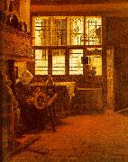 BOURSSE, Esaias Interior with a Woman at a Spinning Wheel fdgd oil painting artist