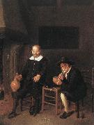 BREKELENKAM, Quiringh van Interior with Two Men by the Fireside f oil painting artist