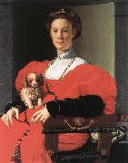 BRONZINO, Agnolo Portrait of a Lady with a Puppy f oil painting artist