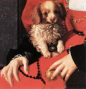 BRONZINO, Agnolo Portrait of a Lady with a Puppy (detail) fg oil painting artist