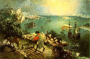 BRUEGEL, Pieter the Elder Landscape with the Fall of Icarus g oil painting artist