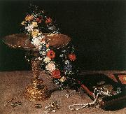 BRUEGHEL, Jan the Elder Still-Life with Garland of Flowers and Golden Tazza fdg oil painting artist