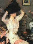 Benson, Frank Lady Trying On a Hat oil painting artist