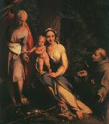 CORNELISZ VAN OOSTSANEN, Jacob The Rest on the Flight to Egypt with Saint Francis dfb oil painting picture wholesale