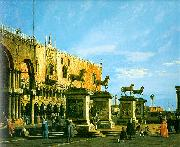 Canaletto Capriccio, The Horses of San Marco in the Piazzetta oil painting picture wholesale