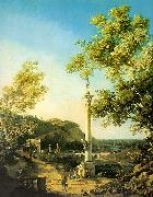 Canaletto Capriccio-River Landscape with a Column, a Ruined Roman Arch and Reminiscences of England oil painting picture wholesale