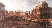 Canaletto Capriccio: a Palladian Design for the Rialto Bridge, with Buildings at Vicenza oil painting picture wholesale