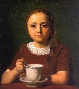 Constantin Hansen Little Girl with a Cup oil painting picture wholesale