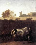 DUJARDIN, Karel Italian Landscape with Herdsman and a Piebald Horse sg oil painting picture wholesale
