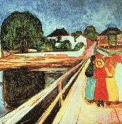Edvard Munch Girls on a Bridge oil painting picture wholesale