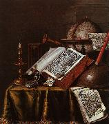 Edwaert Collier Still Life with Musical Instruments, Plutarch's Lives a Celestial Globe oil painting picture wholesale
