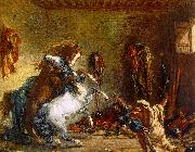 Eugene Delacroix Arab Horses Fighting in a Stable oil painting artist
