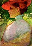 Frank Duveneck Lady With a Red Hat oil painting artist