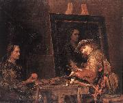 GELDER, Aert de Self-Portrait at an Easel Painting an Old Woman  sgh oil painting artist