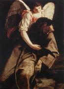 GENTILESCHI, Orazio St Francis and the Angel fdg oil painting artist