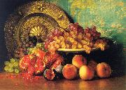 George Henry Hall Figs, Pomegranates, Grapes and Brass Plate oil painting artist