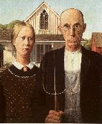 Grant Wood American Gothic oil painting artist