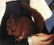 HOLBEIN, Hans the Younger Portrait of a Lady with a Squirrel and a Starling (detail) sf oil painting artist