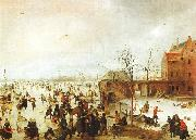 Hendrick Avercamp A Scene on the Ice near a Town oil painting artist