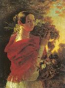 Ivan Khrutsky Young Woman with a Basket oil painting artist