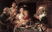 JORDAENS, Jacob As the Old Sang the Young Play Pipes dy oil painting artist
