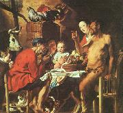 Jacob Jordaens Satyr at the Peasant's House oil painting picture wholesale