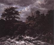 Jacob van Ruisdael Waterfall by Church oil painting picture wholesale