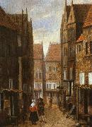 Jacobus Vrel Street Scene with Couple in Conversation oil painting artist