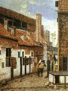 Jacobus Vrel Street Scene with Two Figures Walking Away oil painting artist