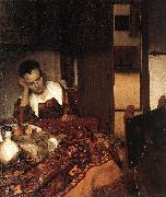 Jan Vermeer A Woman Asleep at Tablec oil painting artist