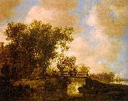 Jan van  Goyen Two Men on a Footbridge Over a Stream oil painting picture wholesale