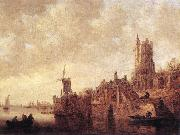 Jan van Goyen River Landscape with a Windmill and Ruined Castle oil painting picture wholesale