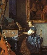 JanVermeer A Young Woman Seated at a Virginal oil painting picture wholesale