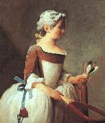 Jean Baptiste Simeon Chardin Girl with Racket and Shuttlecock oil painting picture wholesale