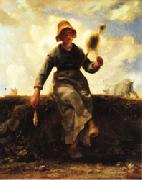 Jean Francois Millet The Spinner, Goat-Girl from the Auvergne oil painting picture wholesale