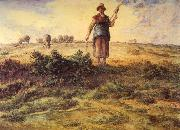 Jean-Franc Millet A Shepherdess and her Flock Watercolour heightened with white oil painting artist