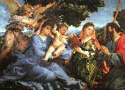 Lorenzo Lotto Madonna and Child with Saints Catherine and James oil painting artist