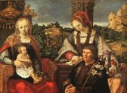 Lucas van Leyden Madonna and Child with Mary Magdalene and a Donor oil painting artist