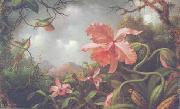 Martin Johnson Heade Hummingbirds and Two Varieties of Orchids oil painting artist