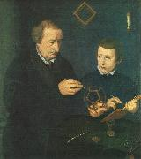 NEUFCHATEL Nicolas Portrait of Johannes Neudorfer and his Son oil painting artist