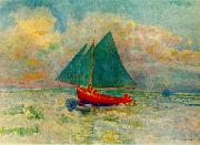 Odilon Redon Red Boat with a Blue Sail oil painting artist